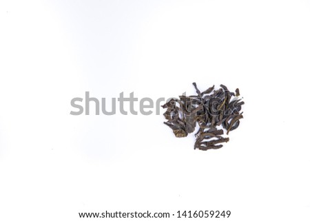 Closeup background of a pile of tea leaves