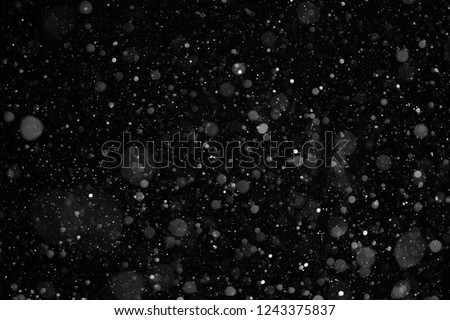 closeup background texture of snowflakes during a snowfall on a black background #1243375837