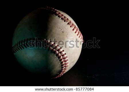 closeup baseball with Black background