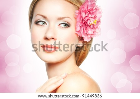 Lifestyle - Pagina 5 Stock-photo-closeup-beautiful-woman-face-with-flower-91449836
