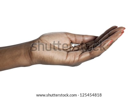 Closeup begging hand of an African woman over a white background