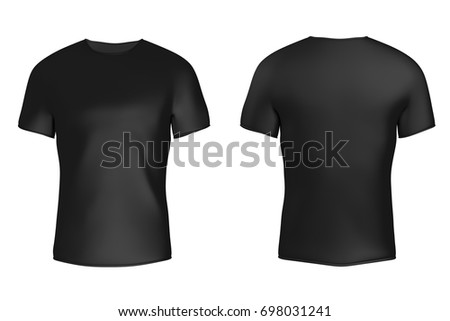 Closeup Black Blank T-Shirt with Empty Space for Yours Design on a white background. 3d Rendering - Shutterstock ID 698031241