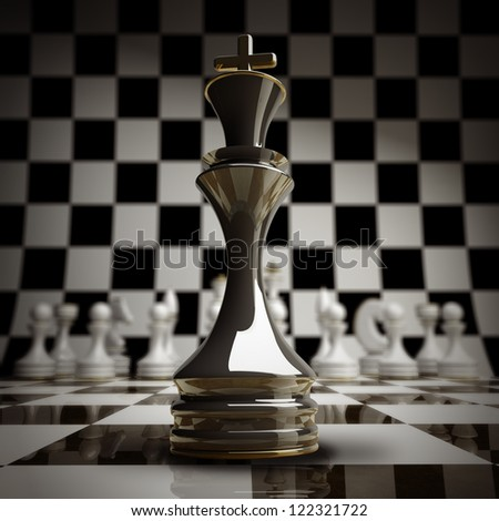 closeup Black chess king background 3d illustration. high resolution