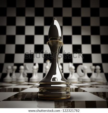 closeup Black chess officer background 3d illustration. high resolution