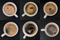 closeup black coffee cup. top view set