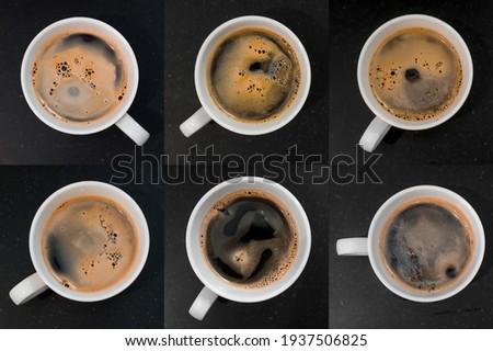 closeup black coffee cup. top view set Stock fotó ©