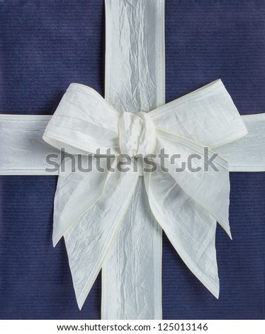 closeup blue gift box with white ribbon