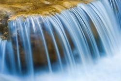 closeup blue water cascade