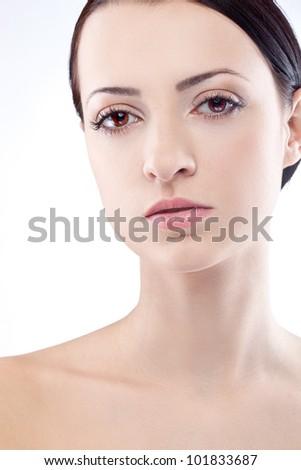 closeup brunette woman face portrait