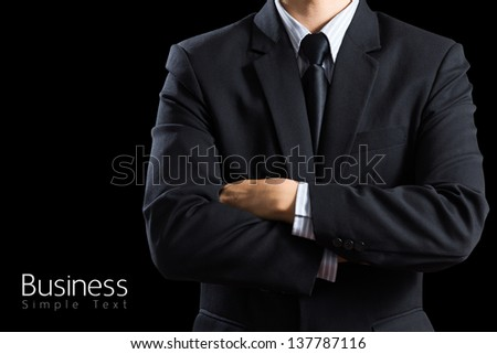 closeup businessman suit Isolated on black background