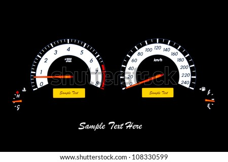 Closeup car speed meter with input text