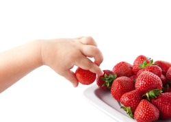 Closeup child's hand with strawberries. isolated on white.
