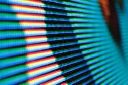 closeup color led lighting on monitor