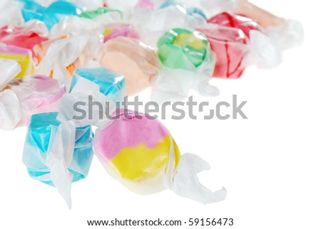 closeup colorful salt water taffy