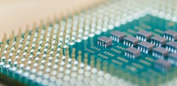 Closeup CPU or Central Processing Unit from motherboard, macro shot microprocessor unit of computer hardware system