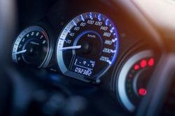 Closeup dashboard of mileage car