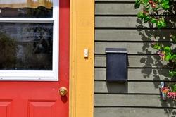 Closeup detail of a historic colourful jellybean house in St. John's, Newfoundland, Canada.