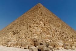 Closeup detail of a Pyramid against blue sky. Giza, Egypt.