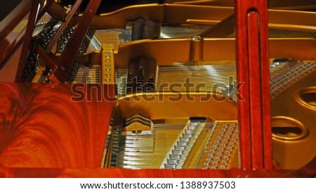 Closeup detail of piano strings, showing strings layout and wooden construction.