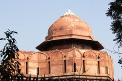 Closeup Detail Of The Dome Of Famous Tourist Attraction Iconic Lal Qila Red Fort Built By Mughal Emperor In New Delhi That Is The Most Visited Place Of Incredible India