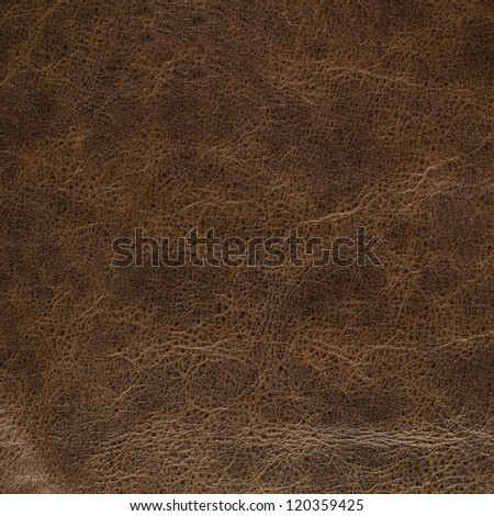 Closeup detail on old brown leather texture background.