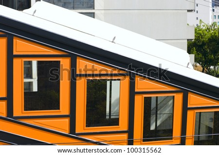 Closeup details of Angels Flight funicular railcar in Los Angeles California district of Bunker Hill