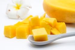 Closeup dice yellow mango.