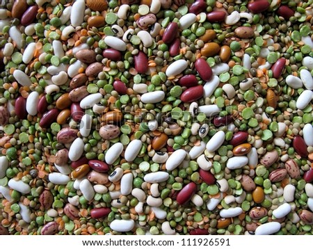 closeup different types of dried legume