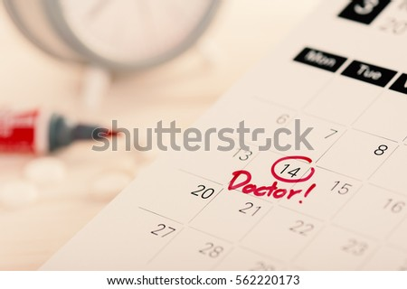 closeup doctor appointment on calendar, medical concept