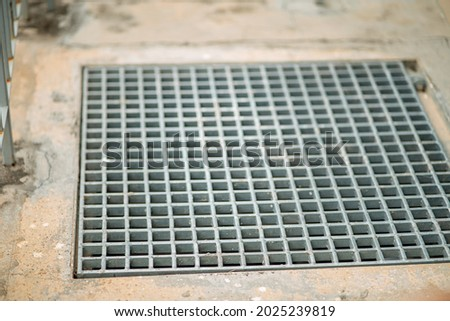 Closeup drain sump and grating on the floor in outdoor. Photo stock ©