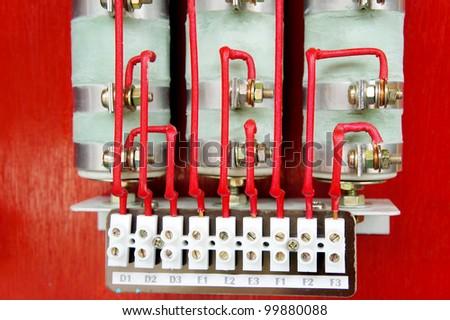 closeup electrical resistance terminal starter