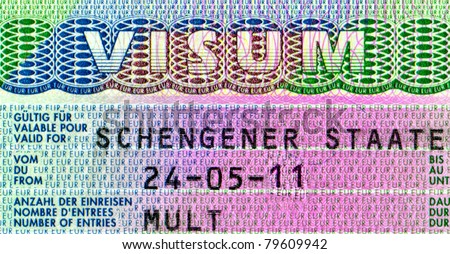 Closeup Element of the Schengen visa of Ukraine passport