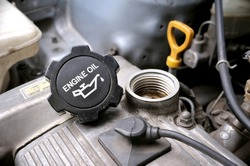 closeup engine oil cap in engine room of old car