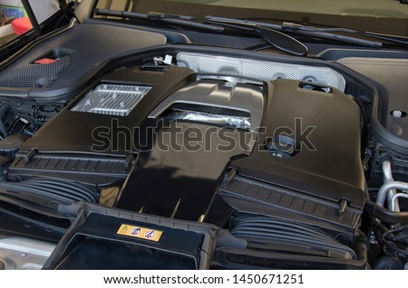 Closeup engine room view of the lusury sports car. #1450671251