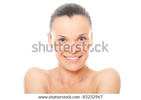 closeup face woman with healthy clean skin isolated over white background