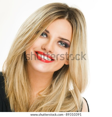 Closeup facial portrait of smiling woman. Isolated over white background