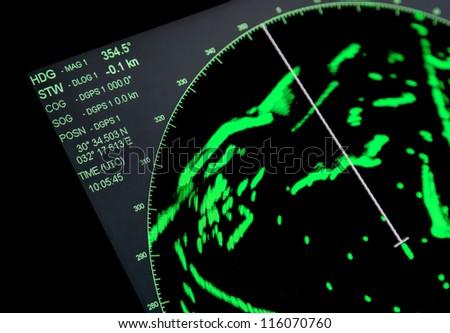 Closeup fragment of ships navigation radar screen #116070760