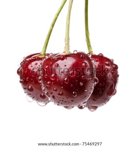 closeup fresh cherry isolated on white