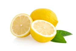 Closeup fresh lemon fruit slice isolated on white background, food and healthy concept