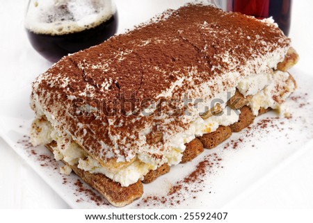 Closeup from some fresh tiramisu on a plate