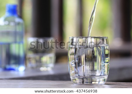 closeup glass of water on table ...