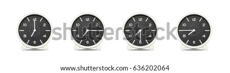 Closeup group of black and white clock with shadow for decorate show the time in 7 , 7:15 , 7:30 , 7:45 a.m. isolated on white background , beautiful 4 clock picture in different time