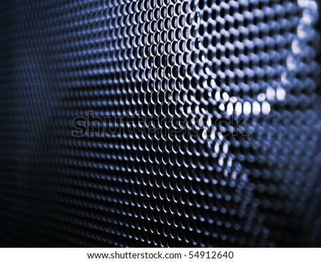 Closeup grunge speaker grill, backgrounds, blue metal texture - stock photo