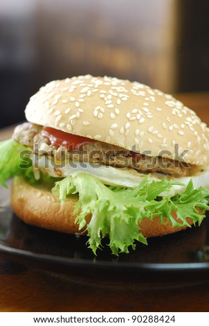 closeup hamburger