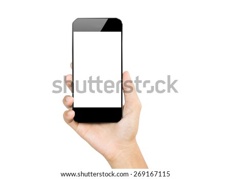 closeup hand hold smartphone mobile isolated on white #269167115