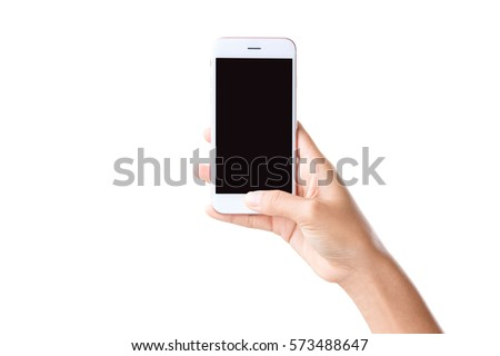 closeup hand holding phone isolated