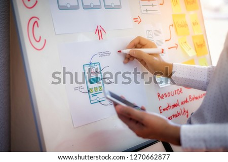 Closeup hand of designer woman sort layout of drawing application for developing for mobile applications. User experience Design concept. #1270662877