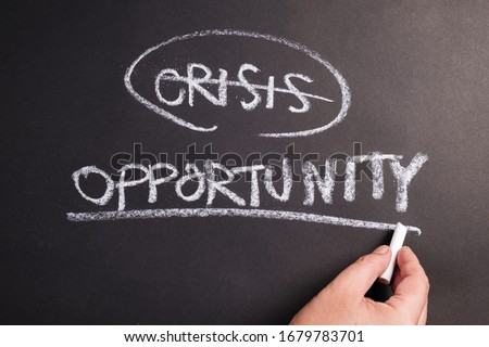 Closeup hand underline at Opportunity word on chalkboard, crisis and opportunity concept