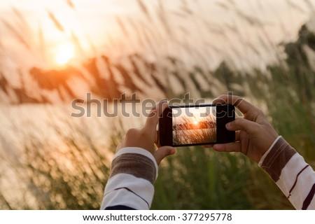 closeup hand using phone similar to iphone6 style taking landscape photo #377295778