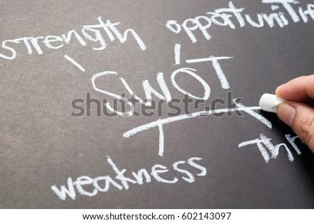 Closeup hand writing Swot (Analysis) topic on chalkboard